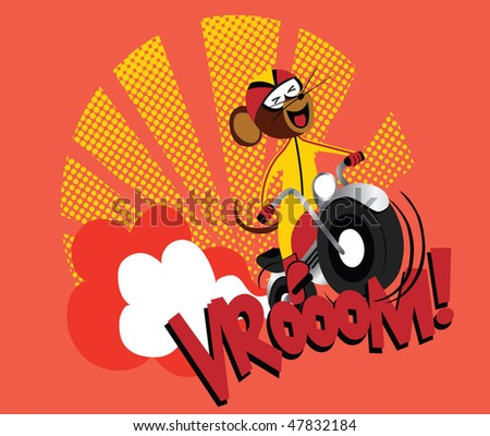 Motorcycle Mouse! vroom!! vector graphic illustration