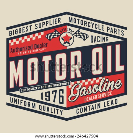 Motorcycle oil typography, t-shirt graphics, vectors
