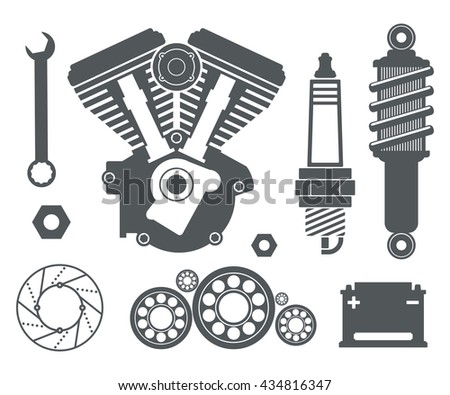 Vector Images Illustrations And Cliparts Motorcycle Parts Items