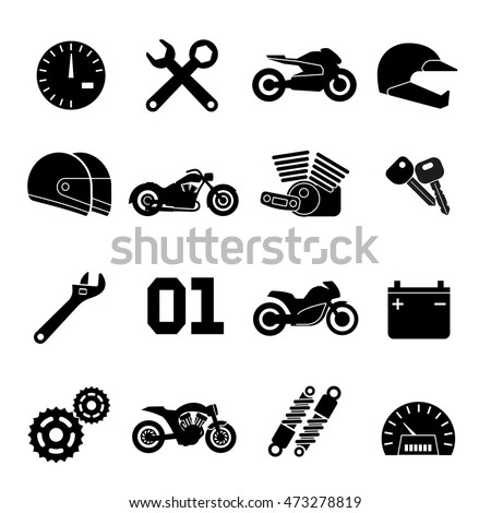 Motorcycle race vector icons. Part of motorbike and sport motor helmet signs illustration