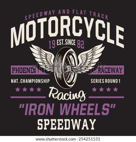 motorcycle racing typography  t