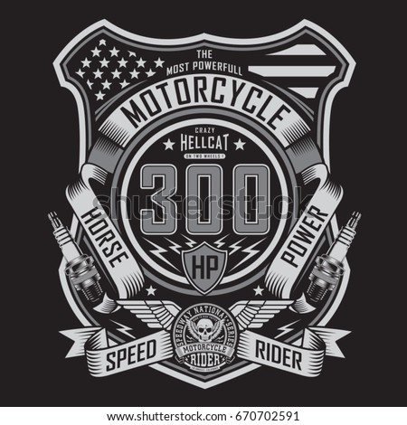 Motorcycle rider typography, tee shirt graphics, vectors