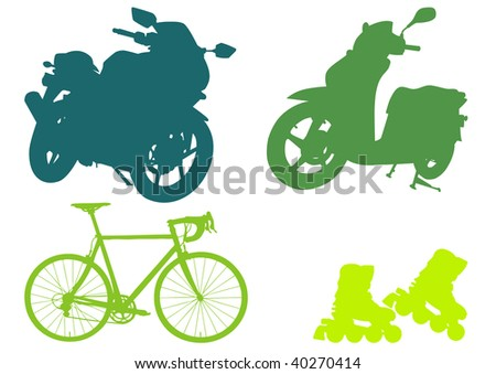 Motorcycle, scooter, bicycle and roller skates silhouettes - stock vector