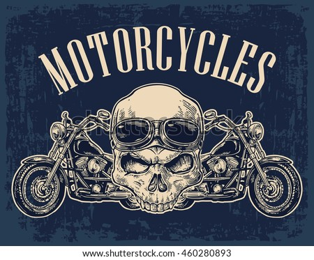 motorcycle side view and skull