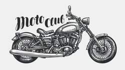 Motorcycle sketch. Hand-drawn vintage motorbike, vector illustration
