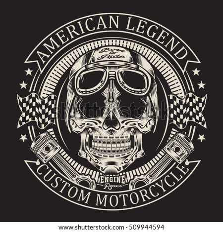 motorcycle skull typography  t