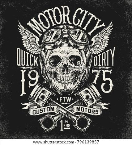 motorcycle skull with helmet