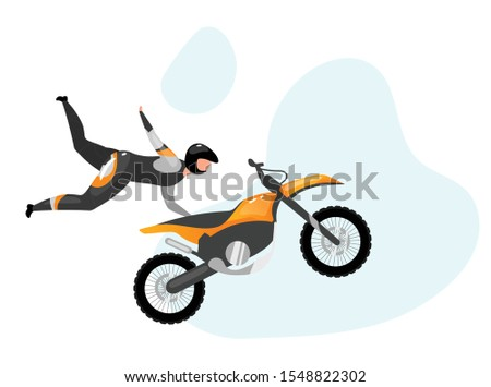 motorcycle stunts flat vector