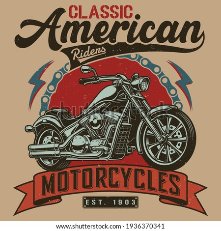 Motorcycle t-shirt design - Motorcycle vintage graphics Сток-фото ©