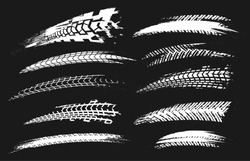 Motorcycle tire tracks vector illustration. Grunge automotive element useful for poster, print, flyer, book, booklet, brochure and leaflet design. Editable graphic set isolated on a black background.