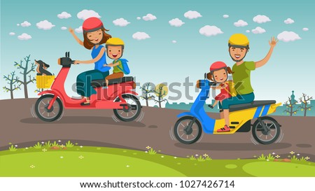 motorcycle travel asians family