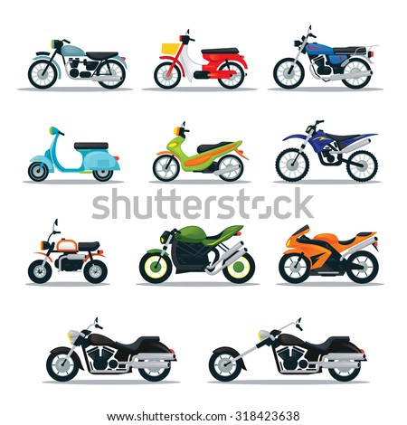 motorcycle types objects icons