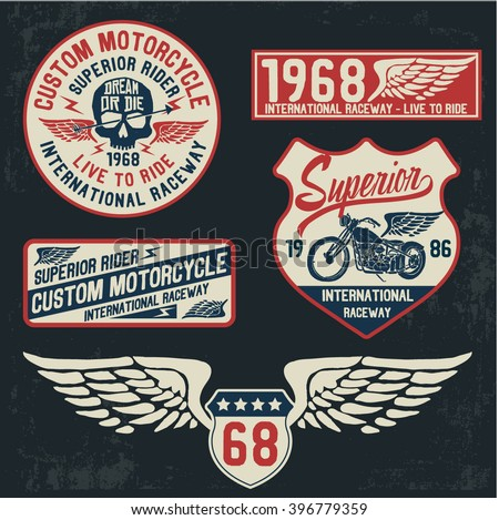 motorcycle typography set  t