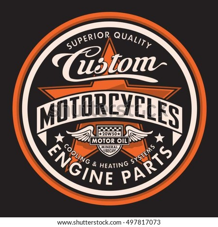motorcycle typography  t shirt