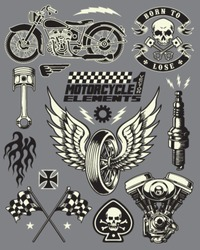 Motorcycle Vector Elements Set