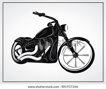Motorcycle vector illustration. Isolated black and white vector motorcycle on a white background. Vector Harley Davidson.