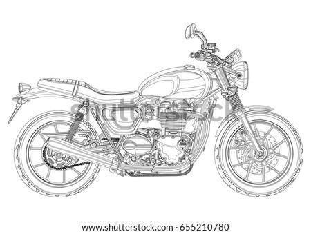 motorcycle vector  monochrome