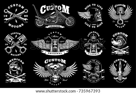 Motorcycle vector set with vintage custom logos, badges, design templates. Text are on the separate layer. (VERSION FOR DARK BACKGROUND)