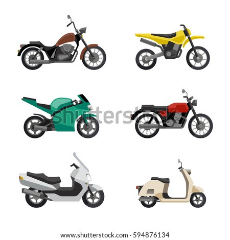motorcycles and scooters icons
