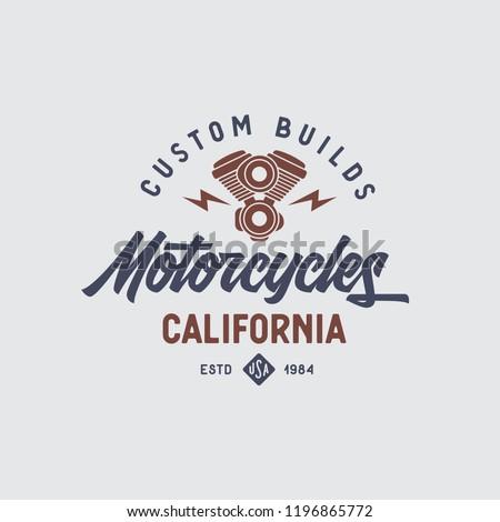 Motorcycles california t-shirt design. Line art style motor engine icon symbol. Vector vintage illustration.