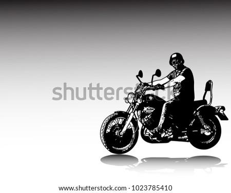 motorcyclist riding vintage motorcycle sketch illustration - vector