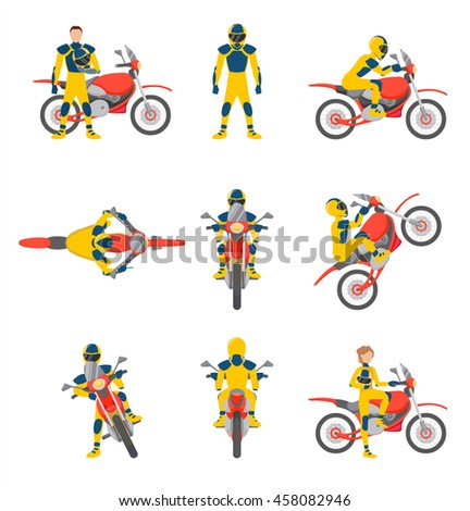 motorcyclists on motorbikes set