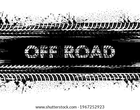 Motorsport off-road race, car rally or motocross background with tire dirty traces and mud or dirt stains, grunge vector typography. Vehicle wheel marks, truck or motorbike protector trails background Stockfoto ©