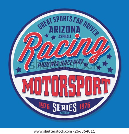 Motorsport racing typography, t-shirt graphics, vectors