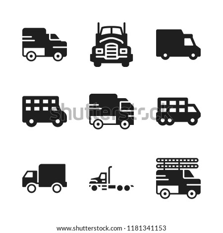 motorway icon. 9 motorway vector icons set. lorry, transportation truck and truck icons for web and design about motorway theme