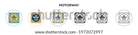Motorway sign icon in filled, thin line, outline and stroke style. Vector illustration of two colored and black motorway sign vector icons designs can be used for mobile, ui, web Stock photo ©