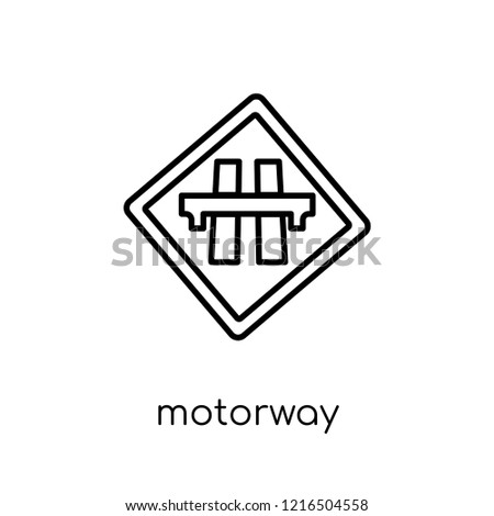 Motorway sign icon. Trendy modern flat linear vector Motorway sign icon on white background from thin line traffic sign collection, editable outline stroke vector illustration
