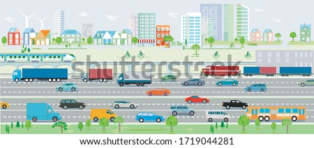 Motorway, traffic with cars and railroad Vektor Illustration Stock photo ©