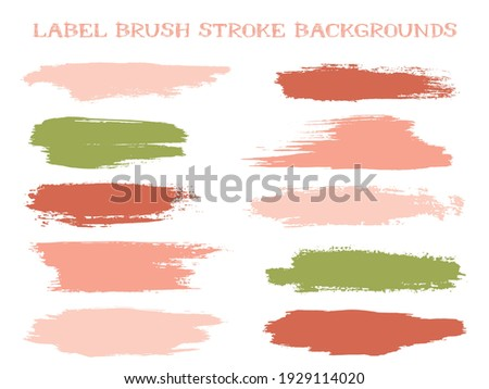Mottled label brush stroke backgrounds, paint or ink smudges vector for tags and stamps design. Painted label backgrounds patch. Interior paint color palette elements. Ink dabs, red green splashes. Stock photo ©