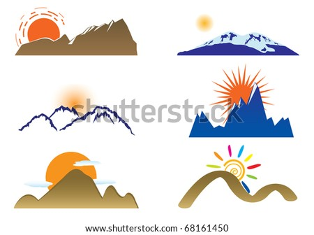 Mount and sun. Vector