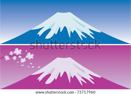 mount fuji  japan in blue and