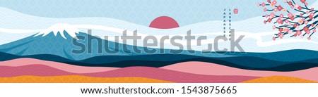 mount fuji panorama at sunset