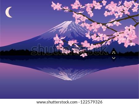 mount fuji reflected on lake