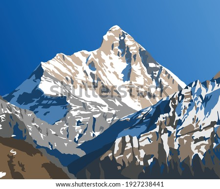 mount Nanda Devi vector illustration, one of the best mounts in Indian Himalaya, seen from Joshimath Auli,  Uttarakhand, India, Indian Himalaya mountain