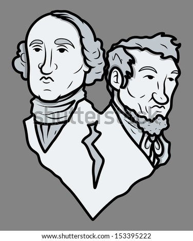 Mount Rushmore Style Sculpture - Washington and Lincoln - Vector Clip-Art Illustration