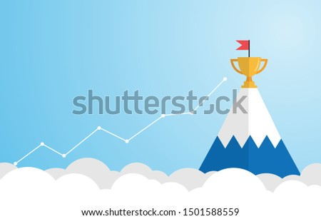 Mountain achievement on blue background with business graph.  Concept of achieving goals.  The path to success. Vector illustration in flat design. Copy-space for text.