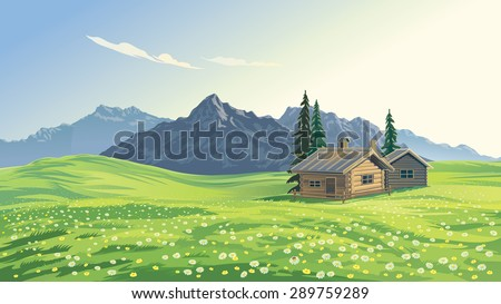 mountain alpine landscape with