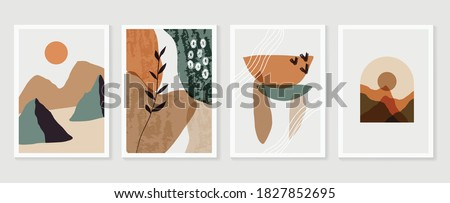 Mountain and Botanical wall art vector set. Earth tones landscapes backgrounds set with moon and sun. Abstract Plant Art design for print, cover, wallpaper and  natural wall art.