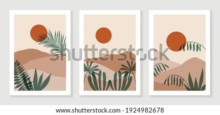 Mountain and Botanical wall art vector set. Earth tones landscapes wallpaper. Oasis Tropical backgrounds collection with mountain, sand, palm,Twigs leaf, moon or sun. Vector illustration. Foto stock ©
