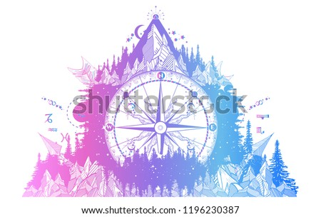 c7bd64c0dcf36 Mountain and compass and wind rose tattoo. Boho style, t-shirt design.