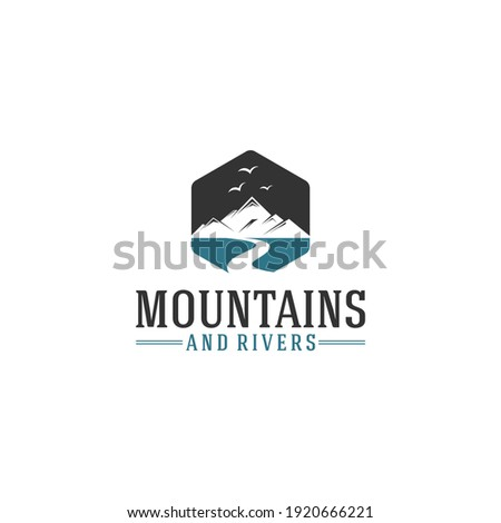 mountain and creek logo with mountain and creek illustration