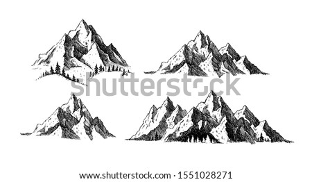 mountain and landscape set