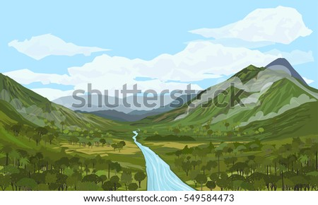 MOUNTAIN AND RIVER IN A VALLEY