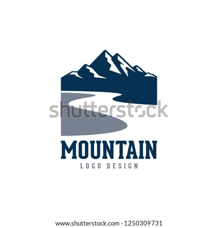 Mountain and River Logo Vector, Mountain Logo, River Logo Design Logo Template and Illustration