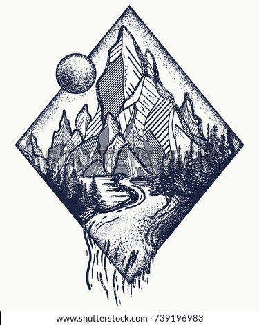 mountain and river tattoo and t