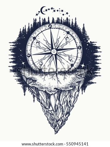 Mountain antique compass and wind rose tattoo art. Adventure, travel, outdoors, symbol. Tattoo for travelers, climbers, hikers. Compass buried in rock tattoo boho style, t-shirt design